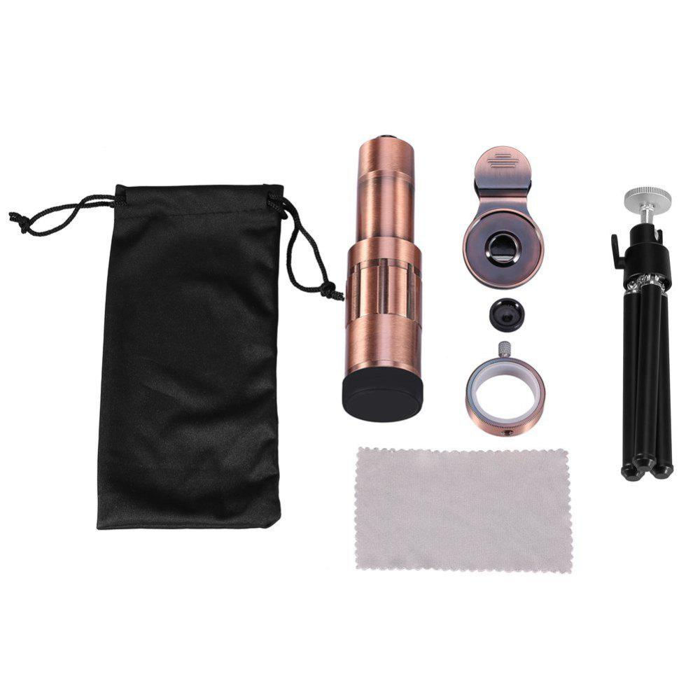 Universal Cellphone Camera Lens Kit Telephoto Lens 20X Optical Zoom Telescope w/ Clip & Tripod - ROSE GOLD