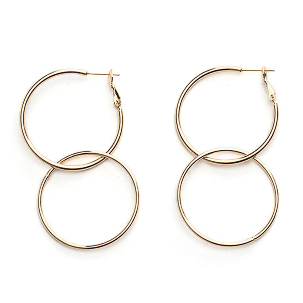 Extremely Minimalist Style Round Geometric Metal Large Circle Earrings Accessories - GOLDEN