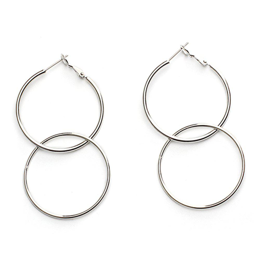Extremely Minimalist Style Round Geometric Metal Large Circle Earrings Accessories - SILVER