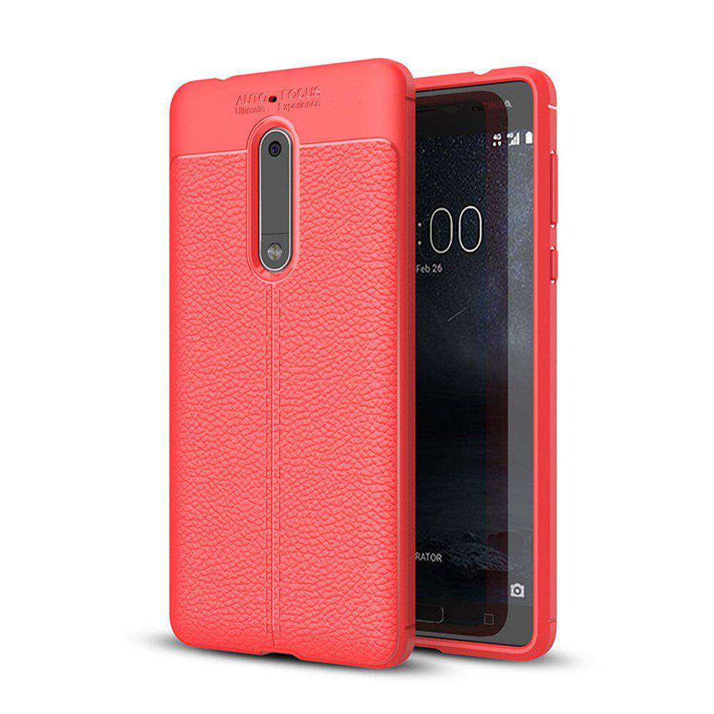 Case for Nokia 5 Shockproof Back Cover Solid Color Soft TPU - RED