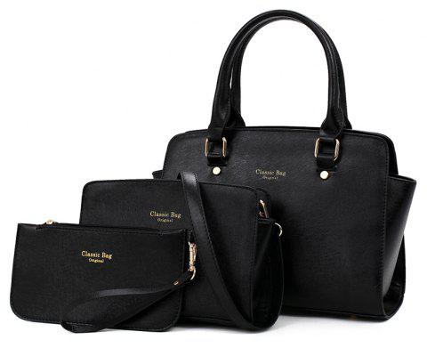 Three-piece Simple Fashion Shoulder Messenger Bag Handbag - BLACK