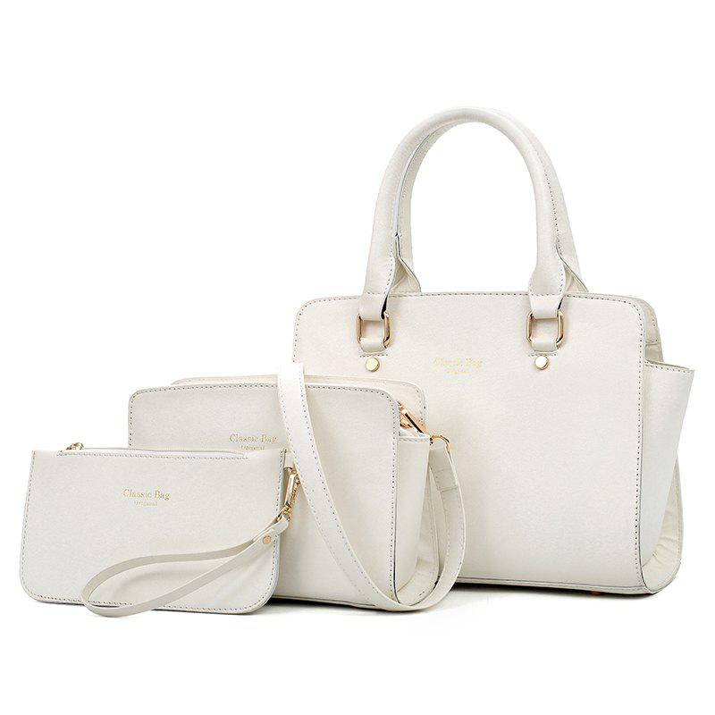 Three-piece Simple Fashion Shoulder Messenger Bag Handbag - OFF WHITE