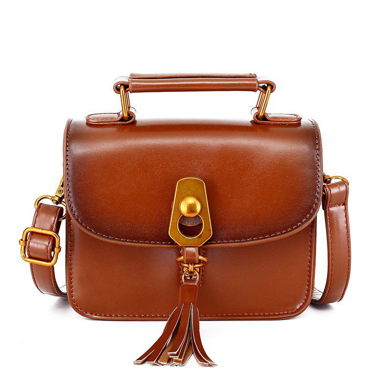 Simple Personality Shoulder Messenger Bag - BROWN