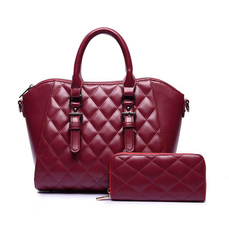 Two Pieces of Trend Diamond Plaid Handbag Shoulder Messenger Bag - WINE RED