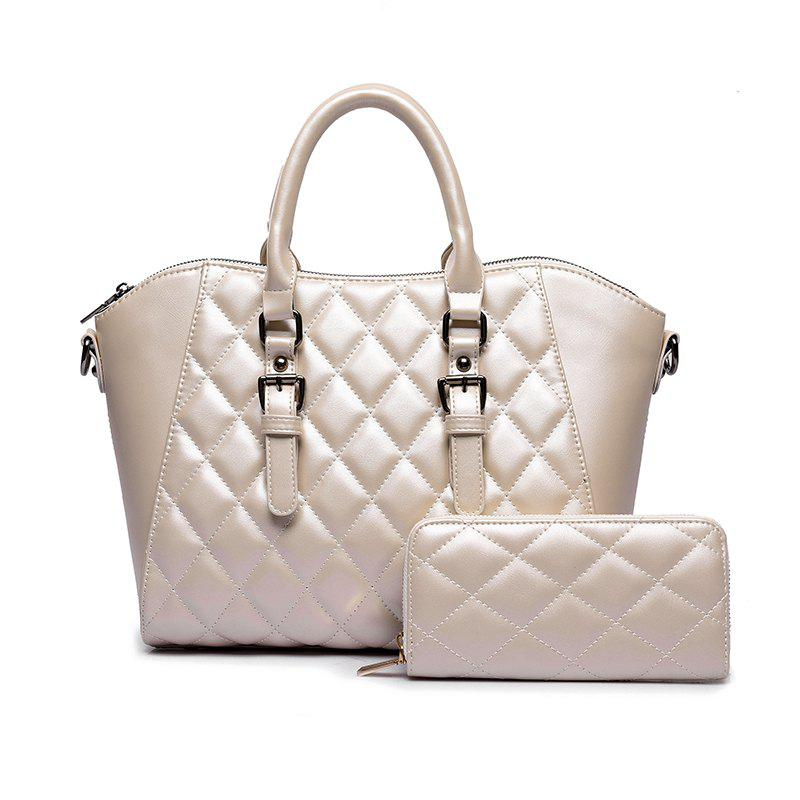 Two Pieces of Trend Diamond Plaid Handbag Shoulder Messenger Bag - OFF WHITE