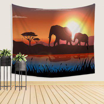 Elephant Tapestry Wall Hanging Decorated with Beach Blanket Tablecloth - COLORMIX W39.4INCH*L59.1INCH