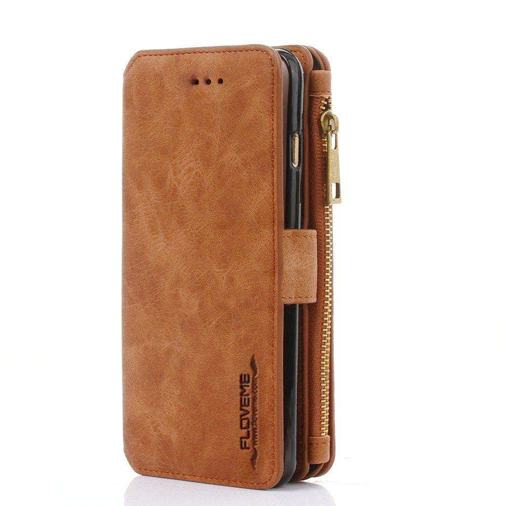 PU Wallet Case for iPhone 6 - BROWN 5.5INCH