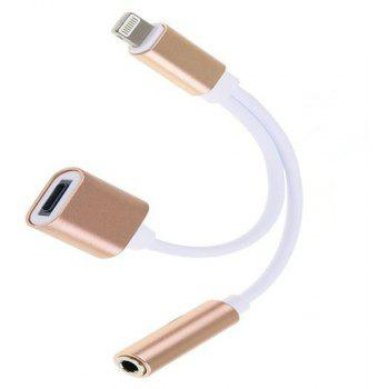Two-In-One Earphone Audio Adapter Cable for iPhone - CHAMPAGNE GOLD