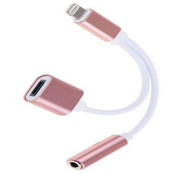 Two-In-One Earphone Audio Adapter Cable for iPhone - ROSE GOLD
