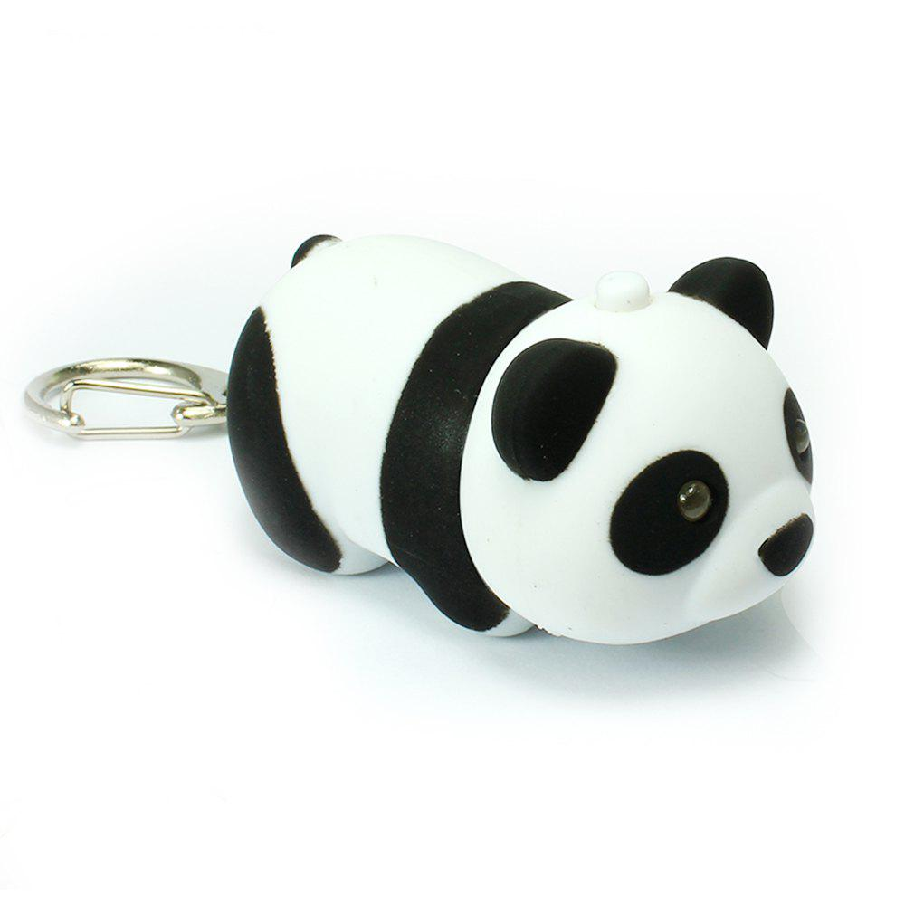 Cute Giant Panda LED Emitting Light Key Ring with Sound Flashlight Toy - WHITE