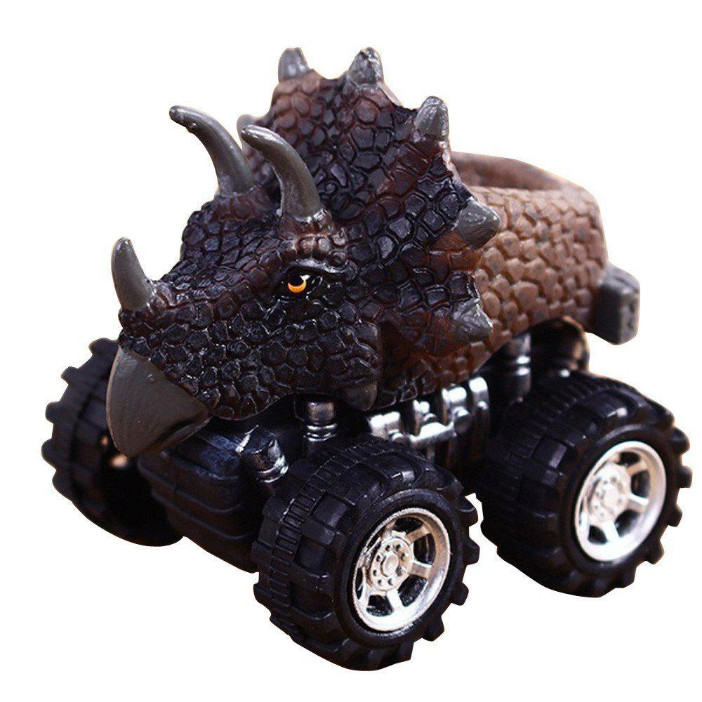 Dinosaur Model Mini Toy Car Gift for Children B - BROWN