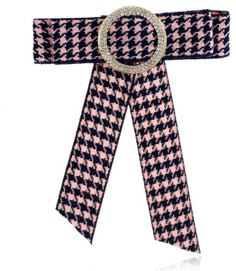 New Bow Women Brooches Pins Canvas Fabric Bowknot Tie Necktie Corsage Round Rhinestone Brooch For Women Clothing Dress - PINK BLACK