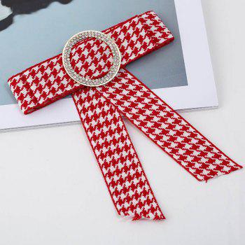 New Bow Women Brooches Pins Canvas Fabric Bowknot Tie Necktie Corsage Round Rhinestone Brooch For Women Clothing Dress - RED