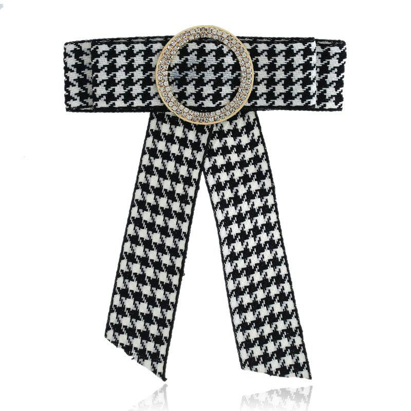 New Bow Women Brooches Pins Canvas Fabric Bowknot Tie Necktie Corsage Round Rhinestone Brooch For Women Clothing Dress - BLACK