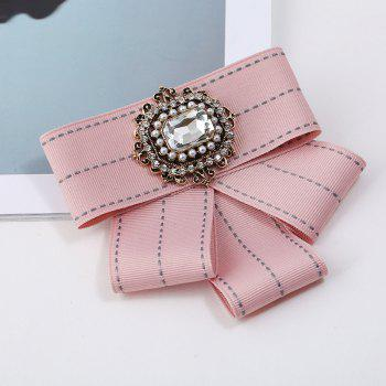 Women Bow Brooches Pins Ribbon Trendy Brooches Jewelry Bowknot Brooch Vintage Collar Pin Corsage Shirt Dress Jewelry - PINK