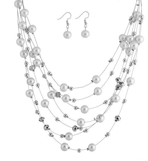 Fashion Women Jewelry Sets Multilayer Necklaces Sets Bridal Wedding Necklace Top Quality Round Beads Plated Sets - WHITE