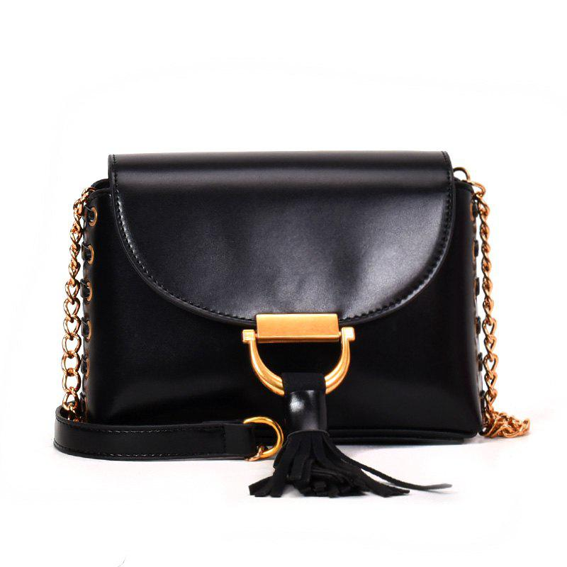 Chain Bag Hit Color Tassel Messenger Shoulder Bag - BLACK