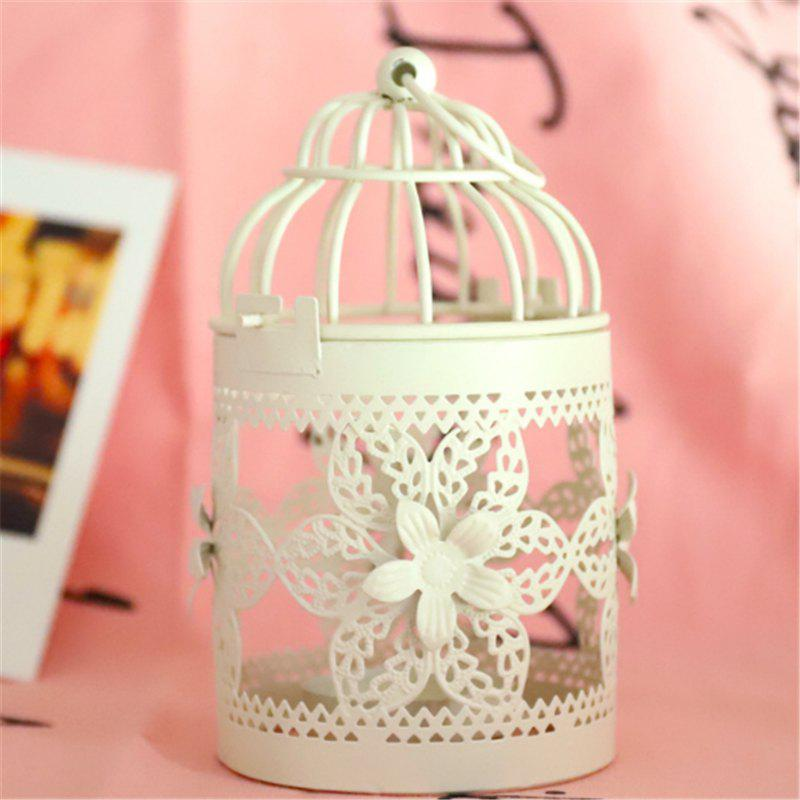 Elegant Appearance Vintage Candelabrum Candlesticker Votive Holder Lantern Birdcage Home Decorative - WHITE B