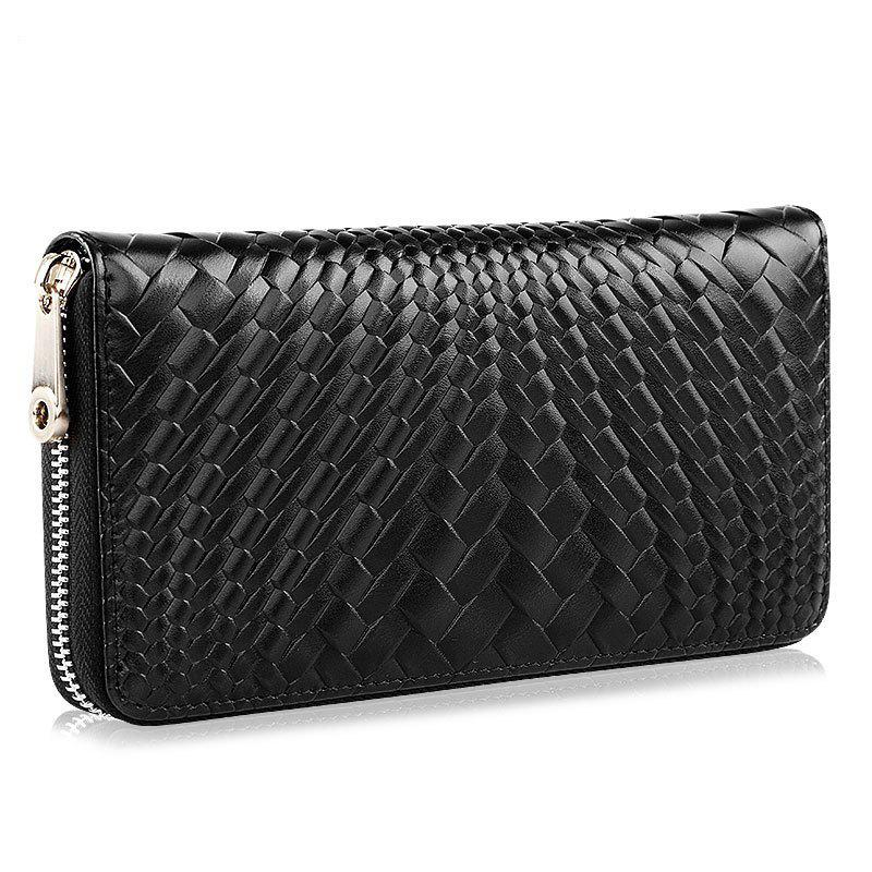 High-Quality Handbag Leather Knit Grain Casual Clutch Bags - BLACK