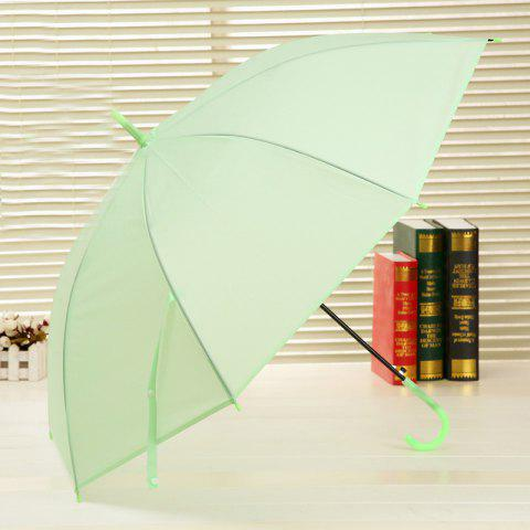 Long Handle Frosted PVC Plastic Environmental Protection Umbrella - GREEN OPEN 96 CM IN DIAMETER