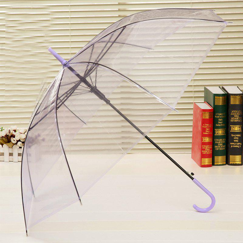 Long Handle Frosted PVC Plastic Environmental Protection Umbrella - CLEAR WHITE OPEN 96 CM IN DIAMETER