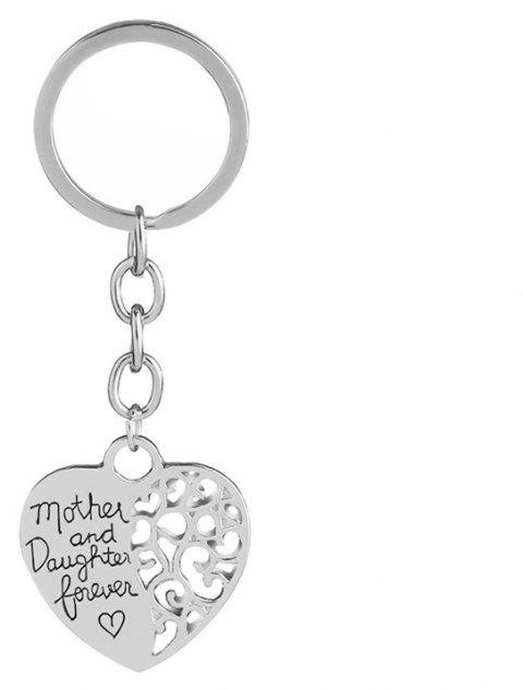 Mother Daughter Eternal Love Alloy Keychain - SILVER