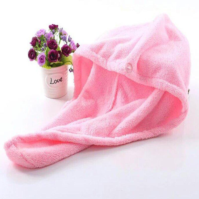 1 Pc Hair Drying Cap Lovely Solid Color Quickly Dry Hair Hat - PINK 50CM X 30CM