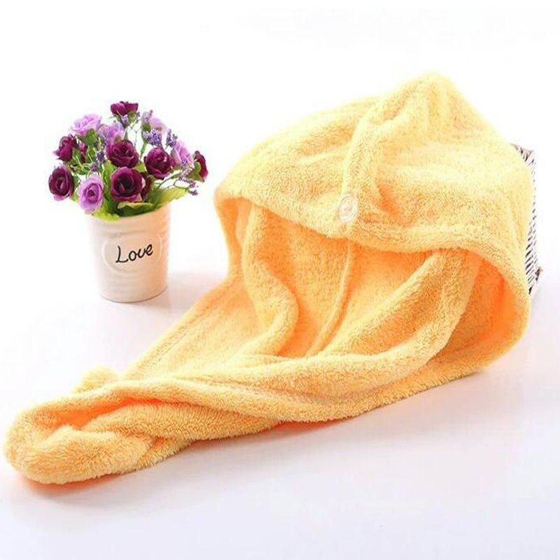 1 Pc Hair Drying Cap Lovely Solid Color Quickly Dry Hair Hat - YELLOW 50CM X 30CM