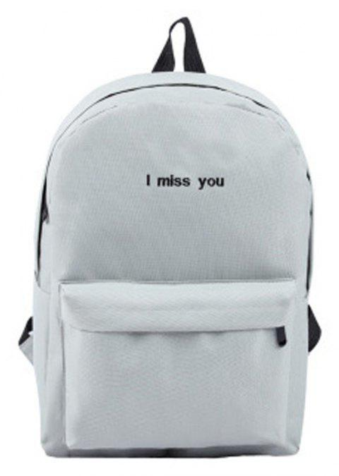 2dffeb75a724 Women s Backpack Fashion Simple Letter Embroidery All Match School Bag -  GRAY