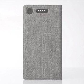 for SONY Xperia XZ1 Compact Smart Wakes Up Dormant Full Pack to Protect Leather Cover Cartridge Shell - GRAY