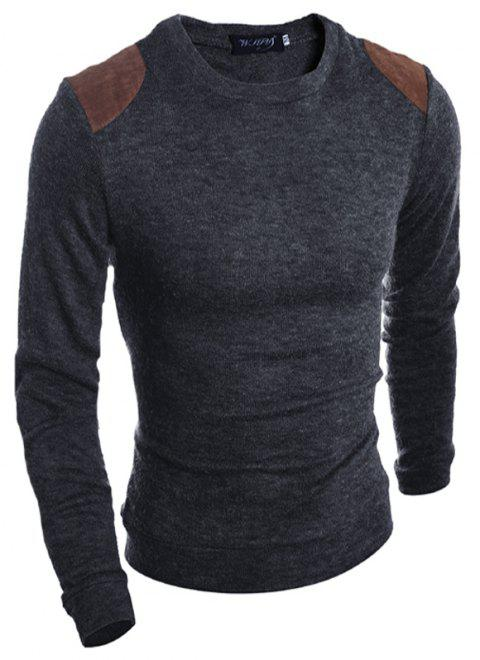 Pure Color  Fashion Men Sweater - SMOKY GRAY XL