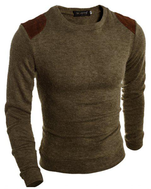 Pure Color  Fashion Men Sweater - BROWN 2XL