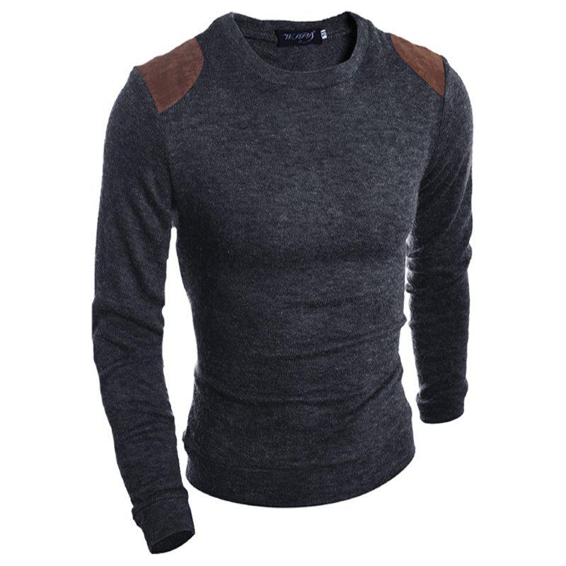 Pure Color  Fashion Men Sweater - SMOKY GRAY L