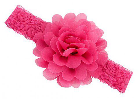 Chiffon Flower Plus Lace Hair Band - ROSE RED