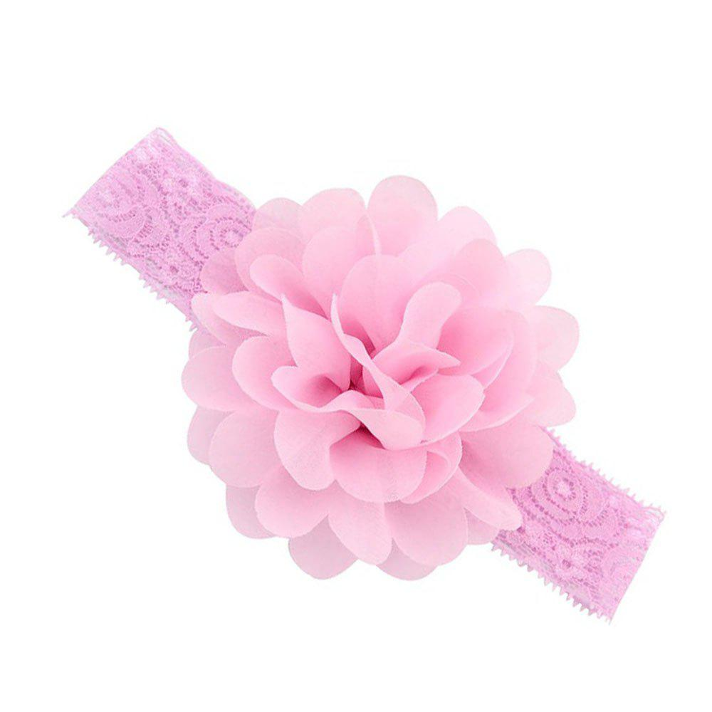 Chiffon Flower Plus Lace Hair Band - PINK