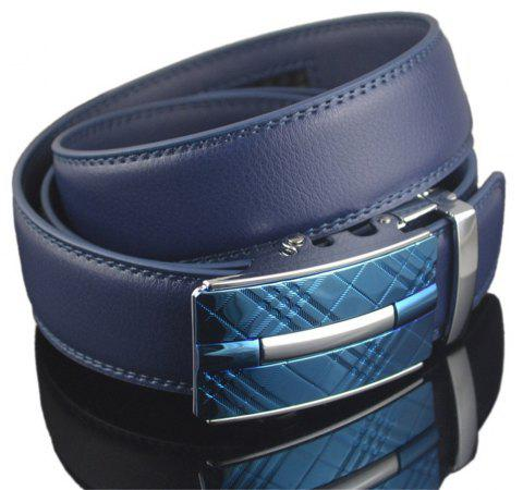 Automatic Belt Buckle Leather Belt - BLUE