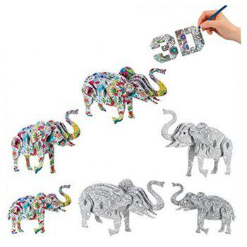 3D Coloring Puzzles Educational Toys Creative Toys Animals Butterfly Elephant Horse - COLORMIX ELEPHANT
