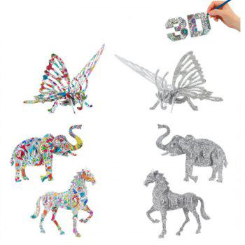 3D Coloring Puzzles Educational Toys Creative Toys Animals Butterfly Elephant Horse - COLORMIX HORSE