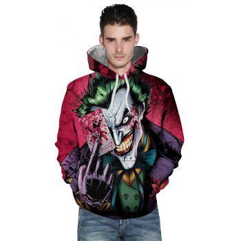 Clown Poker Relaxed Trendy Hoodie - FLORAL M