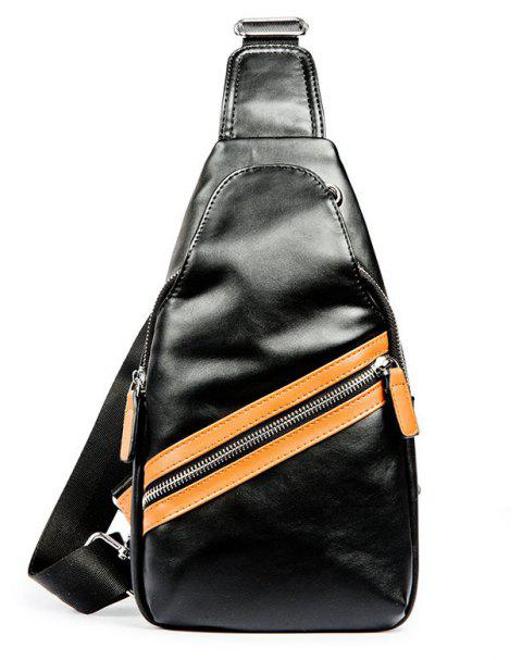 Korean Men's Crossbody Bag Leather Contrast Color Unbalance Backpack - BLACK