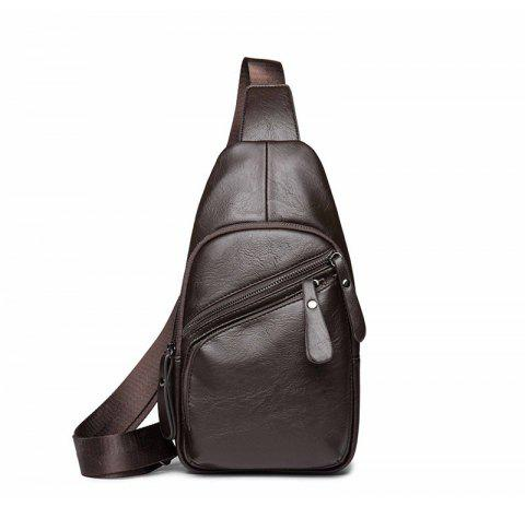 Fashion Unisex Chest Pack Men's Unbalance Backpack Casual Small Bag - BROWN