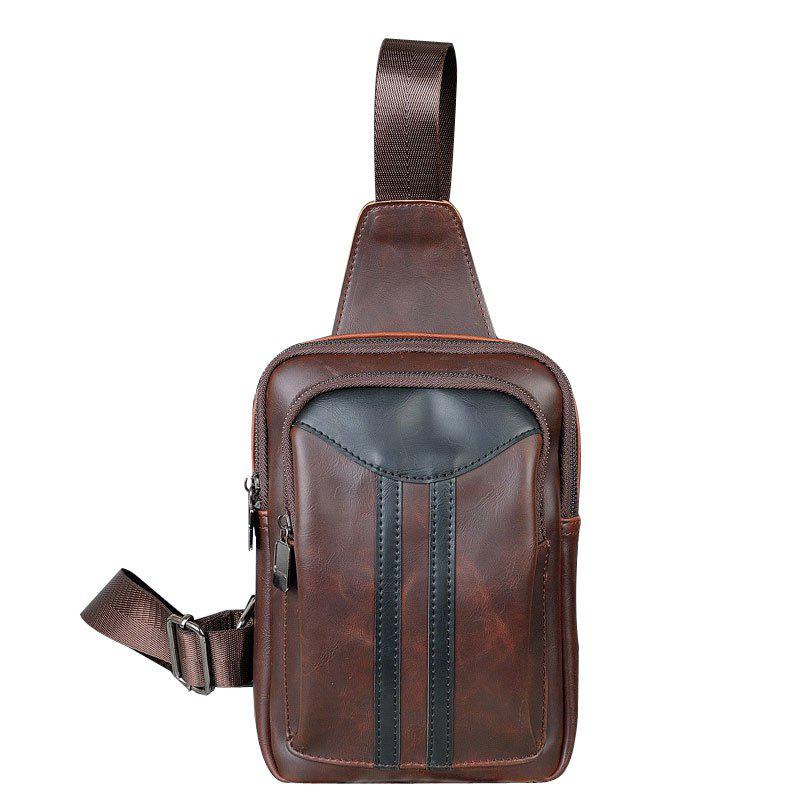 Fashion Chest Pack Men's Korean Unbalance Backpack Crazy Horse Small Crossbody Bag - MOCHA
