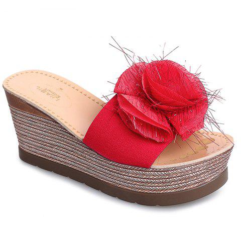 Cool Flowers Fashion Slippers - RED 35