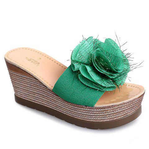 Cool Flowers Fashion Slippers - GREEN 37
