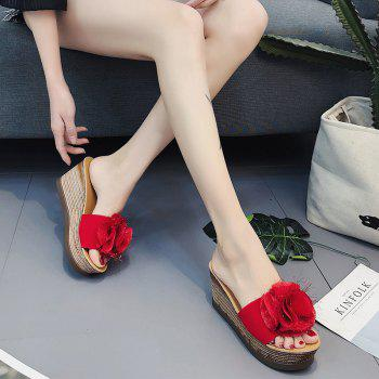 Cool Flowers Fashion Slippers - RED 40