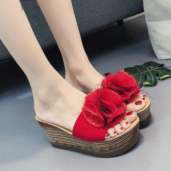 Cool Flowers Fashion Slippers - RED 37