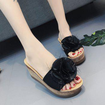 Cool Flowers Fashion Slippers - BLACK 40