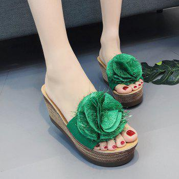 Cool Flowers Fashion Slippers - GREEN 39