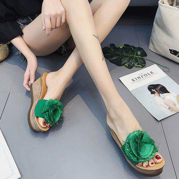 Cool Flowers Fashion Slippers - GREEN 35