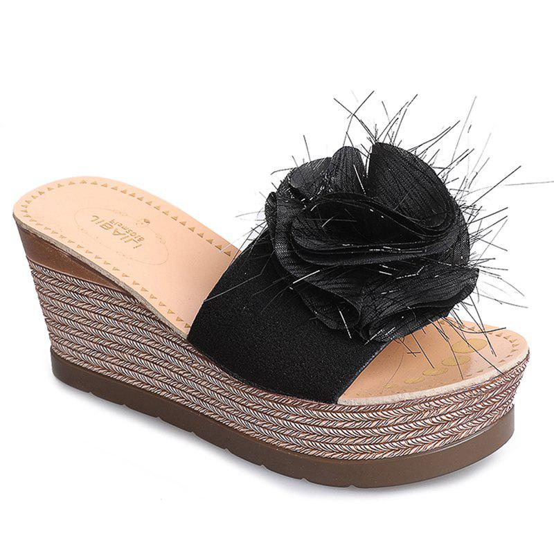 Cool Flowers Fashion Slippers - BLACK 35